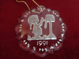 PRECIOUS MOMENTS LEAD CRYSTAL 1991 CHRISTMAS ORNAMENT (#1828)  - $12.99