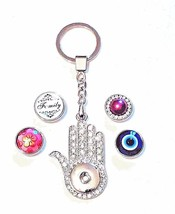 New Unique Sparkly Hand Snap Keychain + 4 Snaps Works w/Ginger Snaps 18 Mm - $8.80