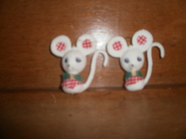 2 Plastic Felt Mice Christmas Ornaments , Gingham Cloth - $2.00