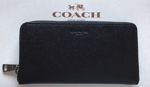 Coach Men`s Accordion Crossgrain Zip Around Leather Wallet In Black