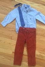 BABY GAP 3pc Outfit Lot - CORDUROY PANTS & BUTTON-DOWN DRESS SHIRT + NEC... - $34.16