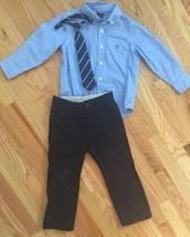 BABY GAP 3pc Outfit Lot - UNIFORM PANTS, BUTTON-DOWN DRESS SHIRT, NECK T... - $34.16