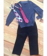 BABY GAP 3pc Outfit Lot BLACK UNIFORM PANTS, GRAY V-NECK SWEATER, NECK T... - $34.16