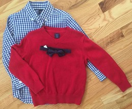GAP KIDS Boys XS 3pc Outfit RED V-NECK SWEATER BLUE GINGHAM DRESS SHIRT,... - $39.10