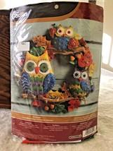 """New Owk Wreath Beaded Sequin Felt Kit Bucilla 86562 17"""" Round - $22.95"""