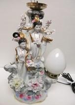 VTG Chinese Asia Japan Porcelain Lamp Geisha Fl... - $195.00