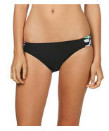 NEW HOBIE Black MLT In Bloom Tab Sides Swimwear Bikini Bottom S Small HS... - $5.44