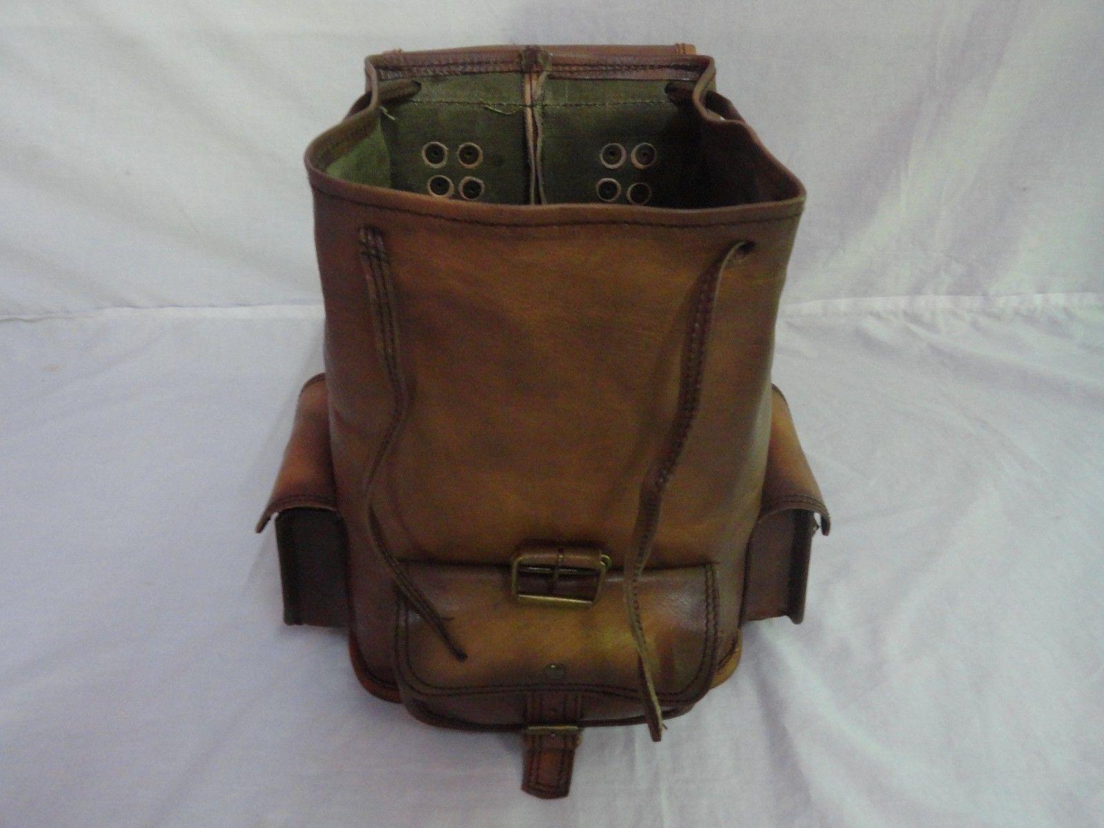 """13"""" High Vintage Leather Rucksack Handmade Backpack Shoulder Bag Book Bag image 5"""