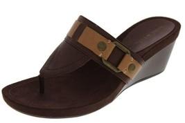 Nine West New Brown Leather Embellished Slide Wedges Thong Sandals    9.5 - $28.99