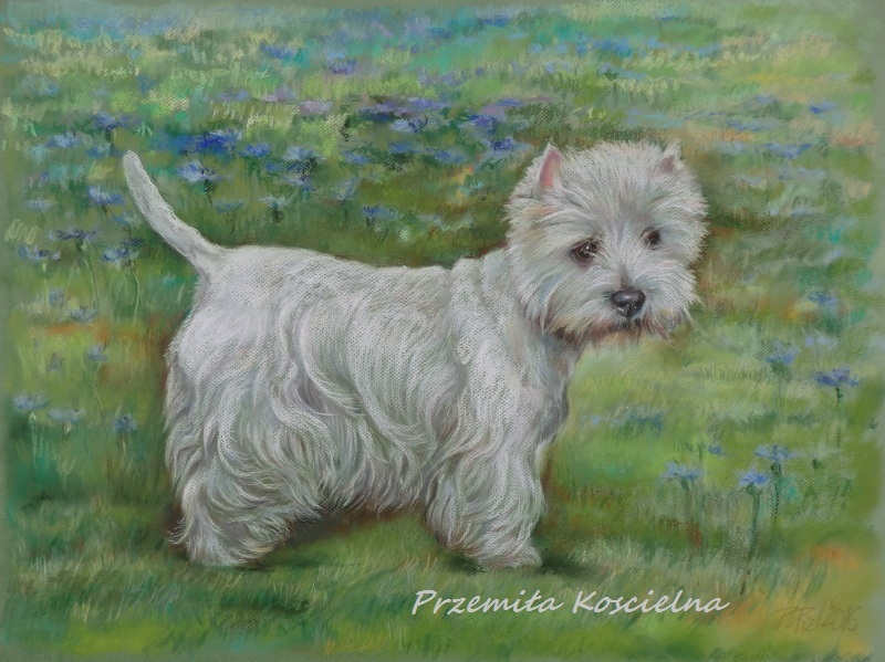 Custom dog portrait on a landscape, doble pets portrait, animals pastel drawing
