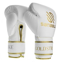 Sanabul Gold Strike Professional Boxing Gloves White Hook & Loop, 16 oz - $194.81