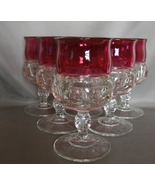 6 Kings Crown Thumbprint Stemmed Ruby Red Flash... - $16.99