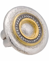 ¦Authentic GURHAN Silver Yellow Gold .48C Diamond Moon Bean Ring Size6. 5»$ 2500 - $1,115.54