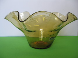 "Elegant Empoli Glass Amber 13"" Salad or Centerpiece Bowl Made in Toscany... - $119.99"