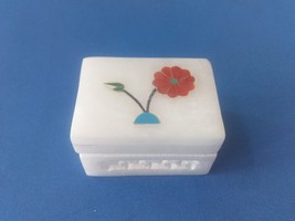 Floral White Marble Jali+ inlay work jewelry box,trinket box Store ring,... - $10.00