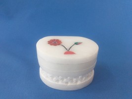 "Super Gifts Floral White Marble Jali+ inlay work 2""x1.5x1 trinket box +S... - $10.00"