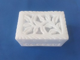 "3""x2x1.5inch White Marble Carving work Square Shape jewelry box,trinket ... - $20.00"