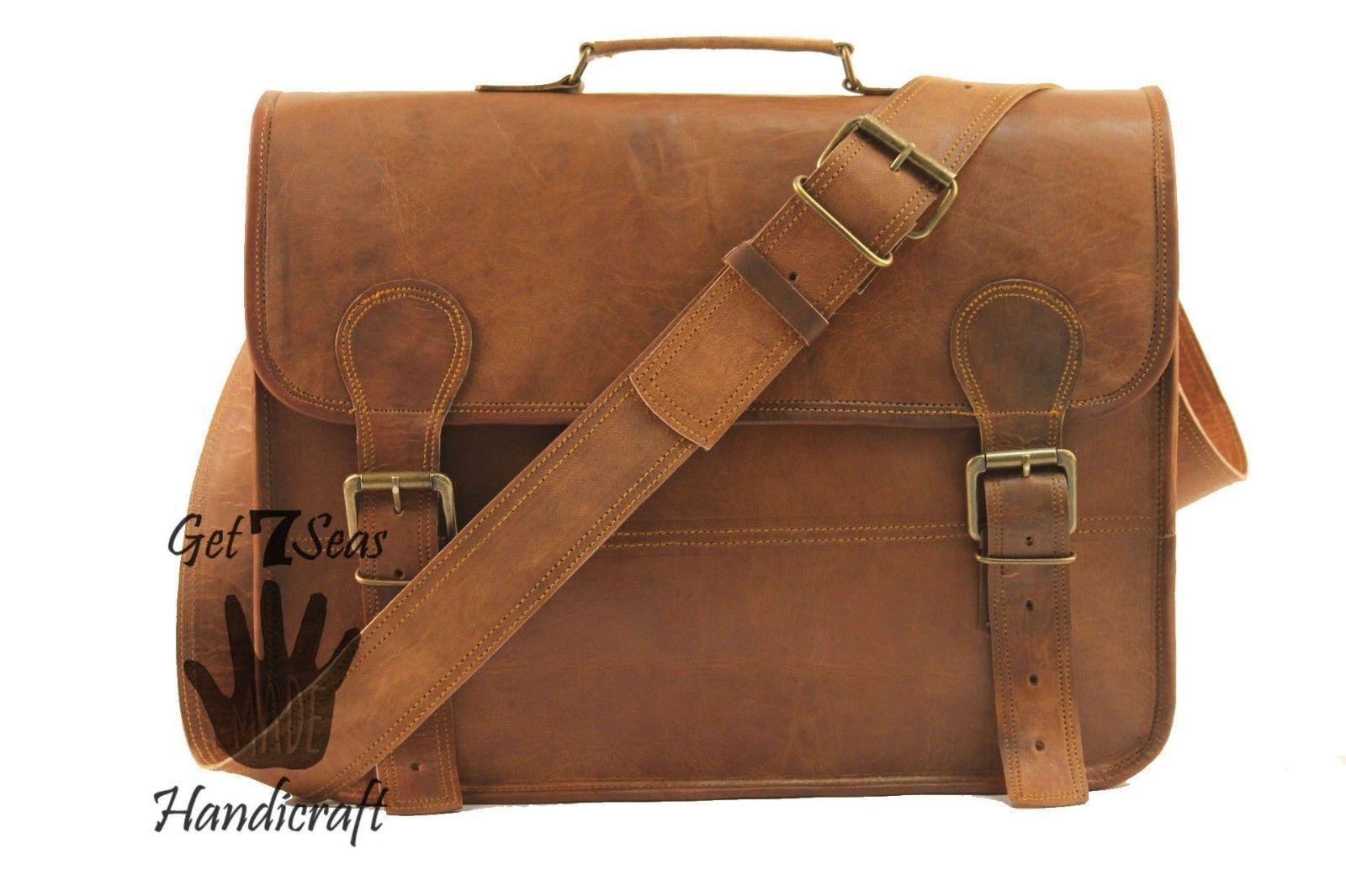 Leather messenger bag mens satchel shoulder laptop women briefcase vintage bags image 4