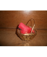 Red Bird In A Gold Wire Basket  - $2.00