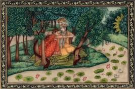 Krishna Radha Kangra Decor Art Handmade Miniature Hindu Deity Drawing Pa... - $144.99