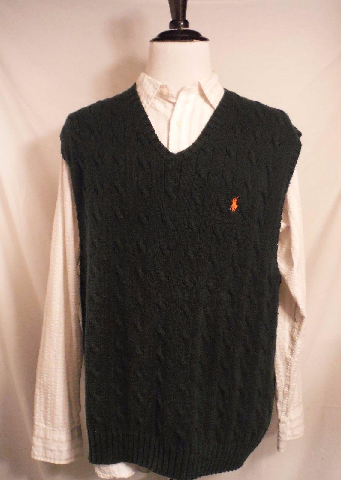52cedd78b S l1600. S l1600. Previous. Ralph Lauren Mens Cable Knit Fisherman Forrest  Green Cotton Sweater Vest ...