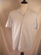 Banana Republic Mens X Large Xl Light Blue Short Sleeve Button Front Cotton Shirt - $13.99