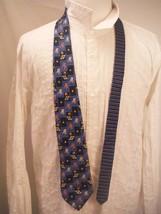 TOMMY HILFIGER Mens Silk Wide Neck Tie Blue & Black with Beach Nautical ... - $14.01