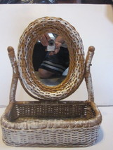 VINTAGE SHABBY CHIC WHICKER VANITY MIRROR & BAS... - $12.86