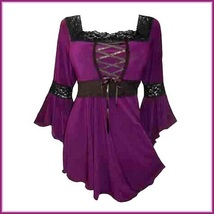 Faire Maidens Lace Up Bodice Flare Sleeves Victorian Renaissance Festival Blouse image 2