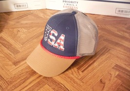 USA Blue Front With Tan Bill SNAPBACK MESH BACK TRUCKERS Baseball Cap Hat - $10.40