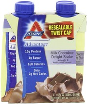Atkins Advantage Milk Chocolate Delight Shake, 11 oz, 4 count - $11.29