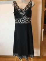 Ann Taylor Loft Dress Size 4 Black White Detail Sleeveless, V-Neck embro... - $18.69
