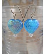 Blue Iridescent Heart Earrings, Swarovski Cryst... - $15.00