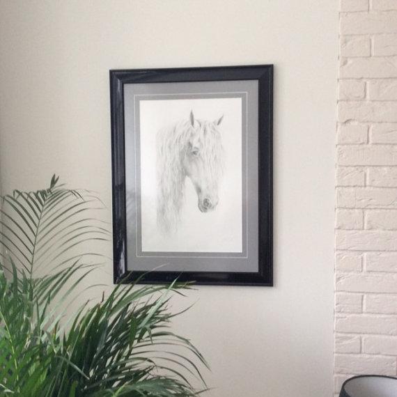 Custom horse portrait, Horse head, Graphite pencil drawing on request, Equine