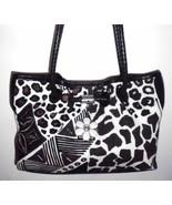 BRIGHTON Handbag Shoulder Bag Canvas Leather Animal Print Brown Ivory D8... - $84.14
