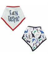 Fin Tastic Sharks Bandana Baby Bibs Set of 2 Cotton Muslin - $38.12