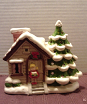 Vintage Porcelain Christmas House Music Box // Mantel Centerpiece Decor - $15.00