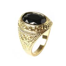 USA Men Women Unisex Retro Black Geometric Resin Carved Golden Alloy Ring  - $190,66 MXN