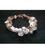 Freeform Copper Wire & White Beads Crochet Brac... - $18.00