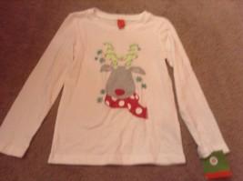 xs 4 5 target reindeer white  shirt long sleeve Girls Christmas Holiday  new nwt - $6.35