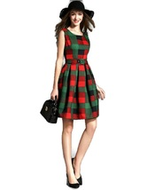 O-neck Thick Plaid Cotton Sleeveless Dress - $49.95