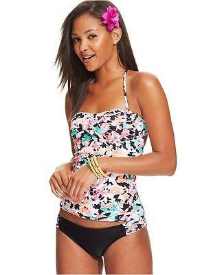 NEW HOBIE Black MLT In Bloom Tab Sides Swimwear Bikini Bottom S Small HS5PB91