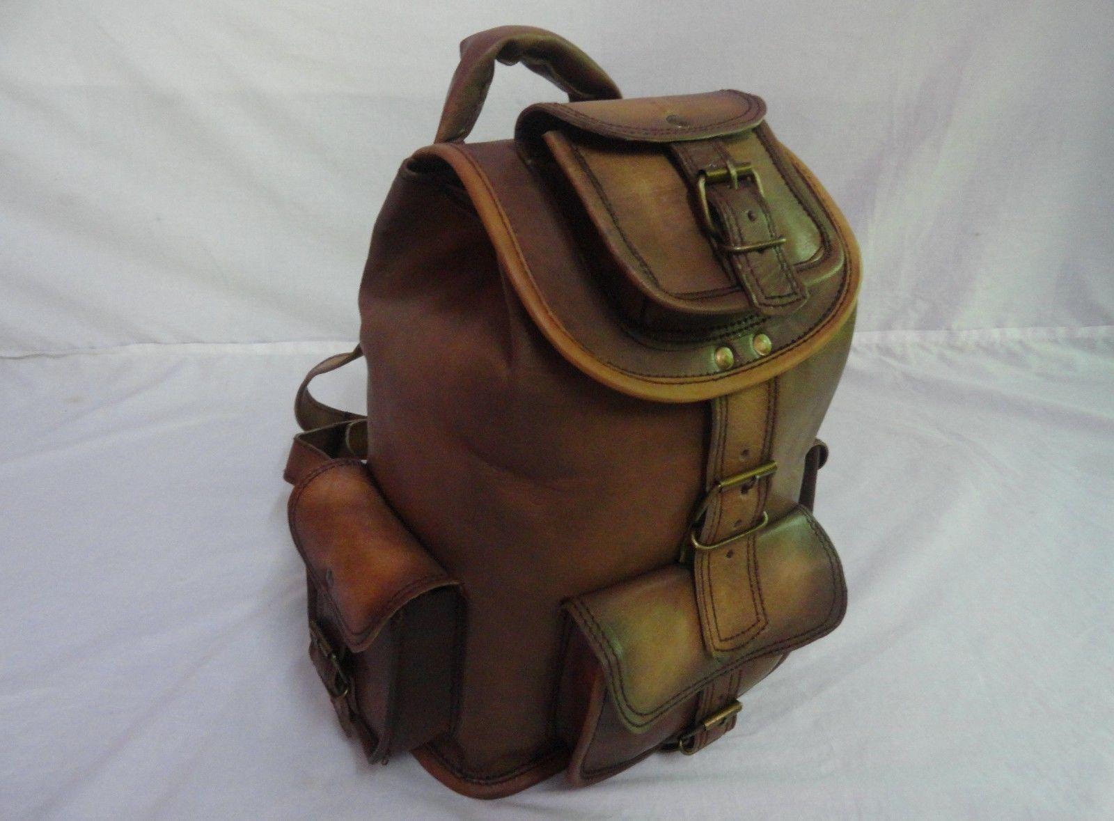 """13"""" High Vintage Leather Rucksack Handmade Backpack Shoulder Bag Book Bag image 4"""