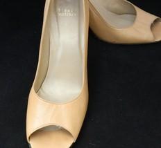Stuart Weitzman Pumps Open Toe Beige Leather Heels Size 9.5N - $41.83