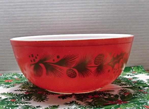 Vintage Pyrex Christmas Bowl // Gold Leaf and 50 similar items