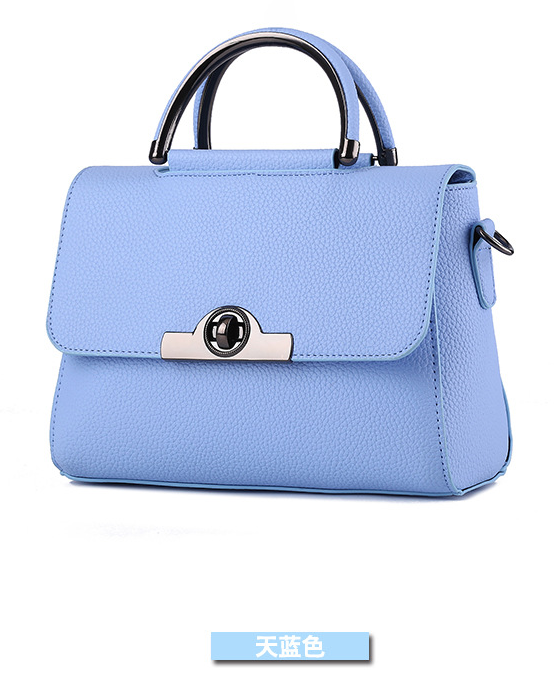 Sky Blue Sweet Shoulder Bags Medium Fashion Leather Tote Bags 12 Color 005-8