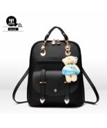 10 Color Girl's School Backpacks Medium Leather Bookbags With Bear 006-1 - £30.59 GBP