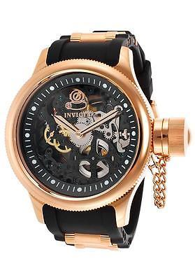 Primary image for Invicta Me's Model 17267 Invicta Russian Rose gold tone case black Silicon band