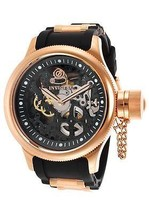 Invicta Me's Model 17267 Invicta Russian Rose gold tone case black Silicon band - $197.99