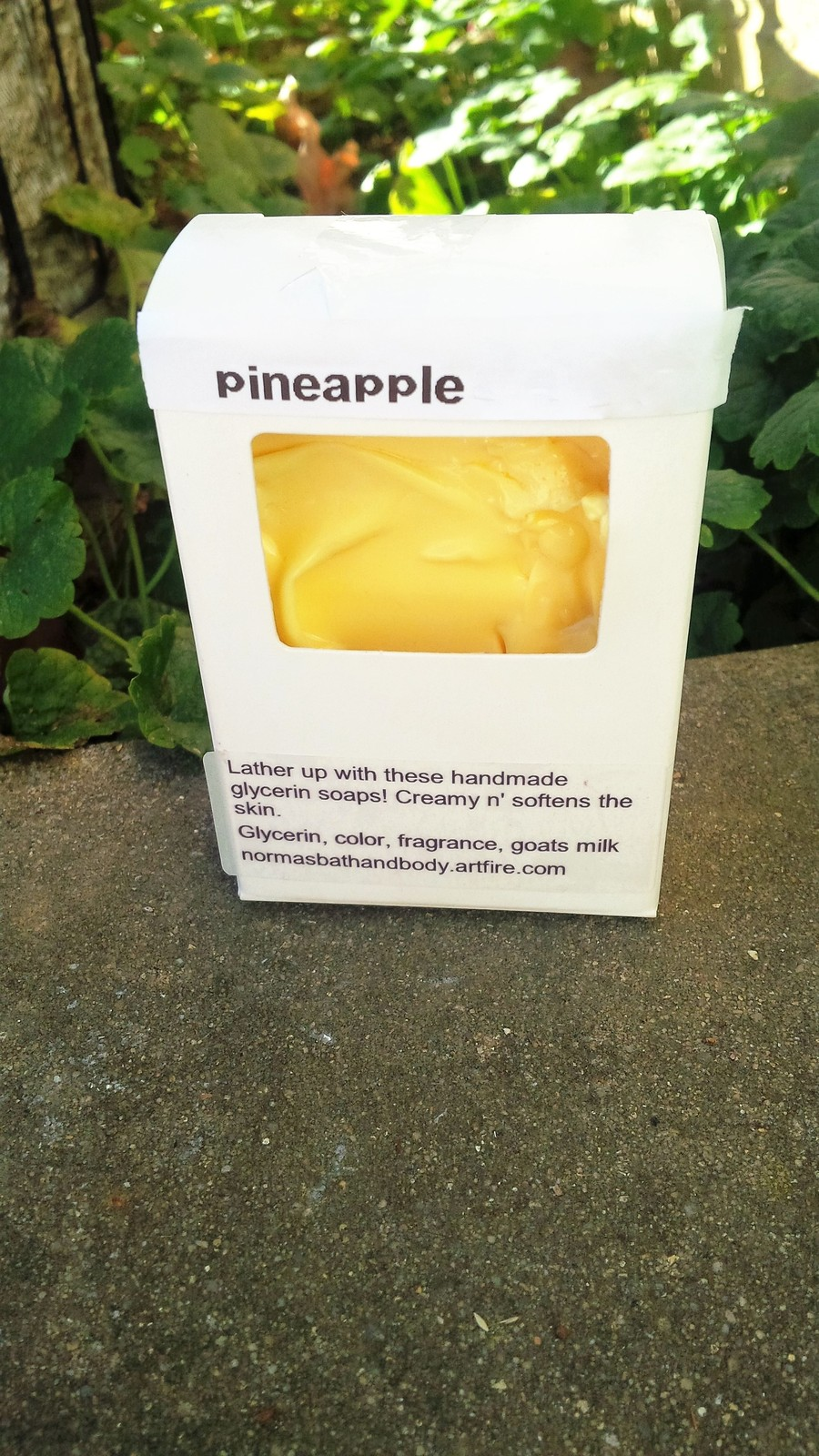 Pineapple soap in a box
